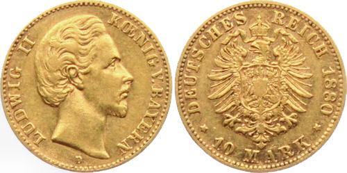 Ludwig II. König von Bayern - 10 Mark 1880