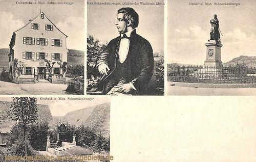 Max Schneckenburger, Geburtshaus, Denkmal in Thalheim, Grabstätte