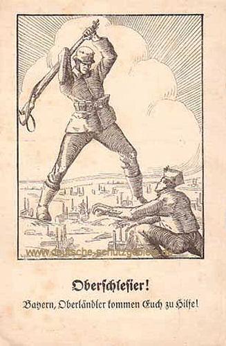 Oberschlesier! Bayern, Oberländler kommen Euch zu Hilfe!