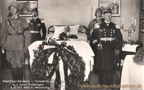 Paul von Hindenburg auf dem Totenbett, 2. VIII. 1934 in Neudeck