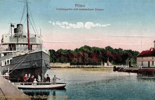 Pillau, Hafenpartie mit russischem Damm