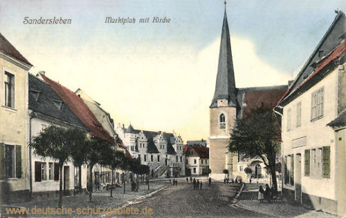Sandersleben, Marktplatz mit Kirche