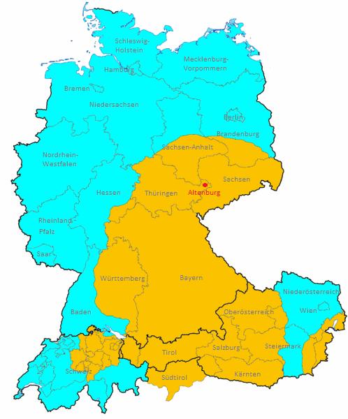 Verbreitung der Kartenbilder nach deutschem und französischem Blatt.