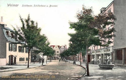 Weimar, Schillerstraße, Schillerhaus und Brunnen