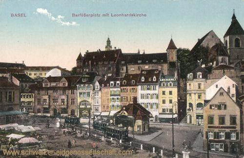 Basel, Barfüßerplatz mit Leonhardskirche