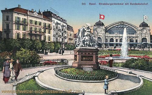 Basel, Strassburgerdenkmal mit Bundesbahnhof