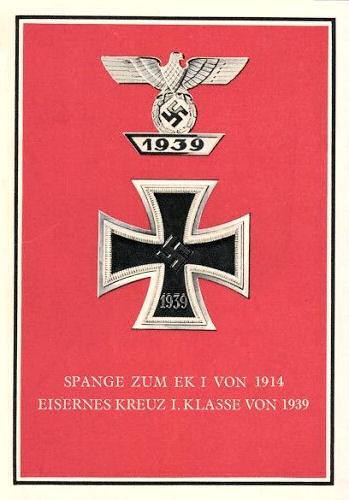 Spange zum EK I von 1914 und Eisernes Kreuz I. Klasse von 1939