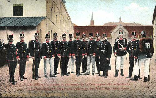 Luxemburg, Die verschiedenen Grade und Uniformen der Freiwilligenkompagnie