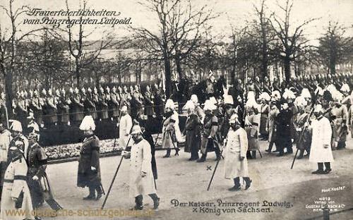 Trauerfeierlichkeiten vom Prinzregenten Luitpold. Der Kaiser, Prinzregent Ludwig, König von Sachsen.