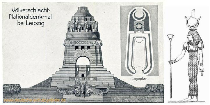 Der ursprüngliche Grundriss des Völkerschlachtdenkmals erinnert an die Göttin Isis.