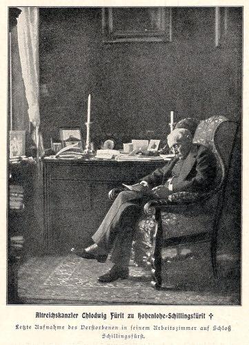 Altreichskanzler Chlodwig Fürst zu Hohenlohe-Schillingsfürst † Letzte Aufnahme des Verstorbenen in seinem Arbeitszimmer auf Schloß Schillingsfürst.