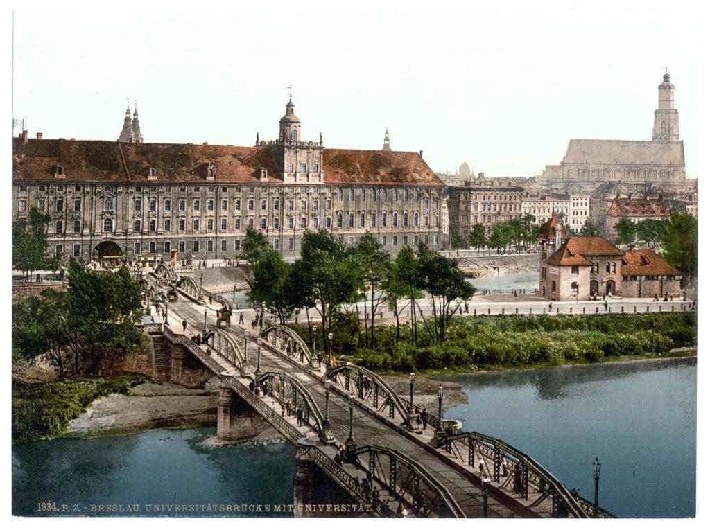 Breslau Universitätsbrücke mit Universität