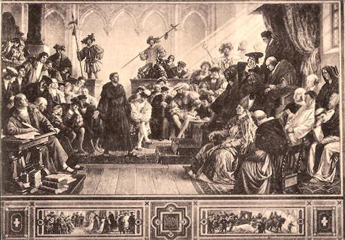 Luther auf dem Reichstag zu Worms (1521), nach einem Gemälde von Hermann Wislicenus.