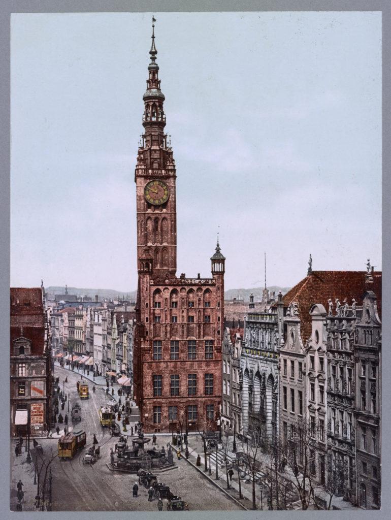 Danzig Langen Markt mit Rathaus und Börse