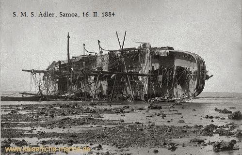"S.M.S. Adler, Wrack, Samoa; Fotounterschrift ""SMS. Adler, Samoa, 16. II. 1884, Onkel Machenauer +, ""Foto von Jan Drösler"