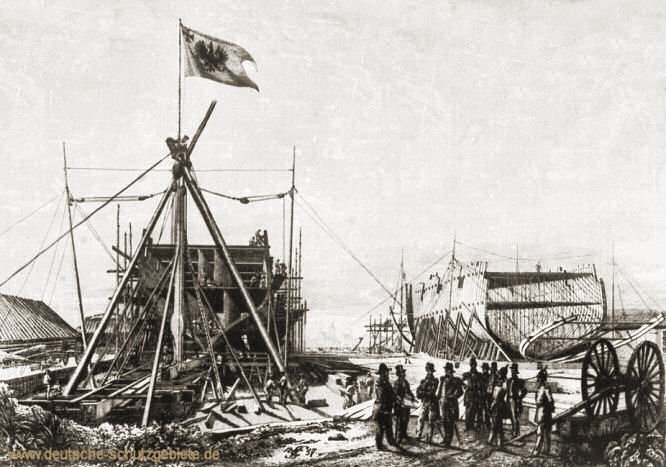 """Danzig 1857, """"Arcona"""" und """"Gazelle"""" im Bau"""