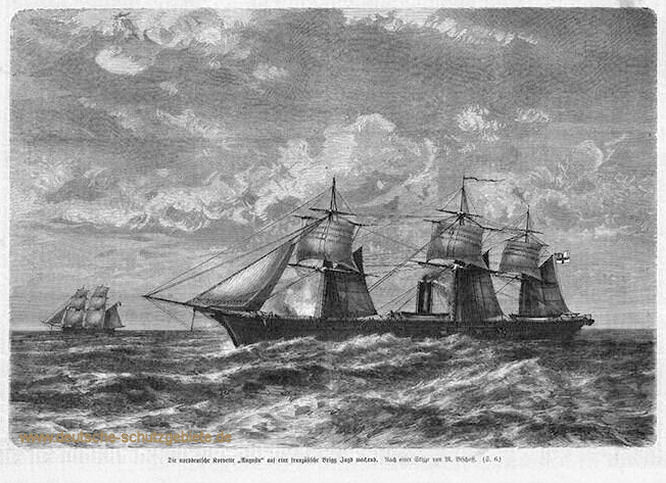 Die norddeutsche Korvette Augusta auf eine französische Brigg Jagd machend