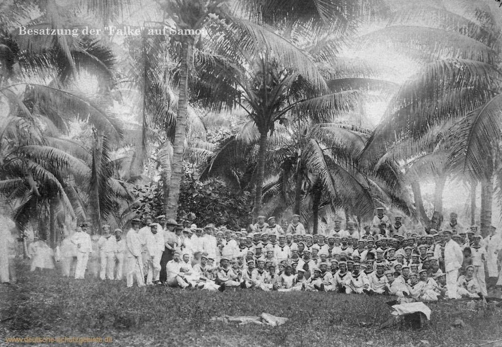 """Die Besatzung der """"Falke"""" auf Samoa"""