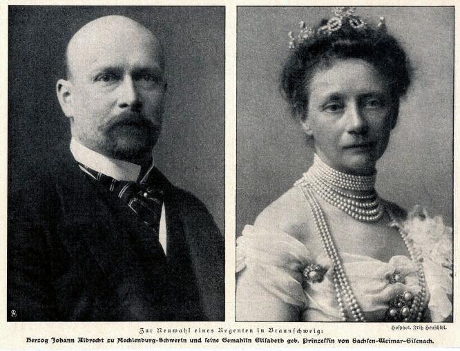 Herzog Johann Albrecht zu Mecklenburg-Schwerin und seine Gemahlin Elisabeth geb. Prinzessin von Sachsen-Weimar-Eisenach.
