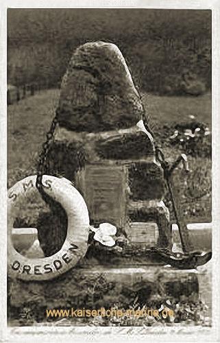 S.M.S. Dresden, Gedenkstein zum Untergang des Schiffes am 14. März 1915 auf der Insel Quiriquina (Chile)