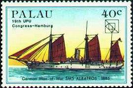 S.M.S. Albatross, Briefmarke der Republik Palau (ehemalige deutsche Kolonie in der Südsee)