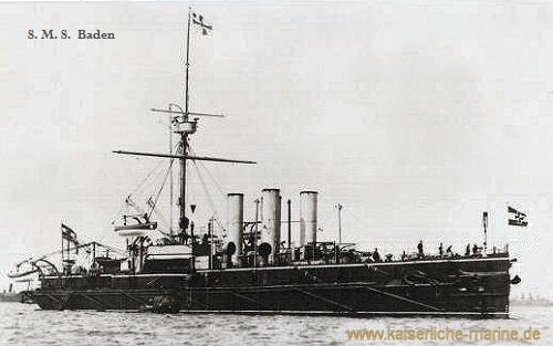 S.M.S. Baden, das Flaggschiff des Manövergeschwaders auf der Reede von Spithcad, 1888