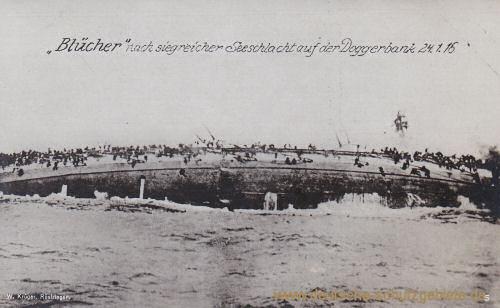 """S.M.S. Blücher kentert und sinkt, """"Blücher nach siegreicher Seeschlacht auf der Doggerbank 24.1.15"""""""