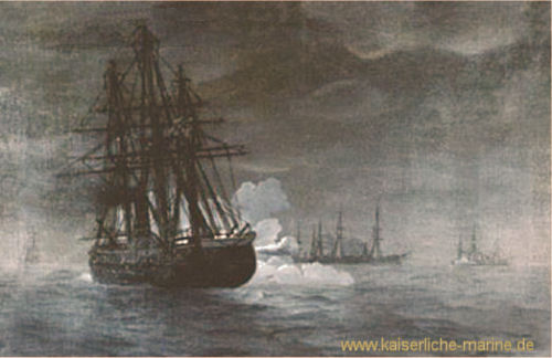 Nachtgefecht der Glattdeckkorvette Nymphe am 23.07.1870 gegen französische Kriegsschiffe vor Rügen.