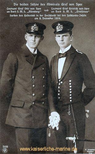 Die beiden Söhne des Admiral Graf von Spee. Leutnant Otto Graf von Spee an Bord S.M.S. Nürnberg, Leutnant Heinrich Graf von Spee an Bord S.M.S. Gneisenau starben den Heldentod in der Seeschlacht bei den Falklandinseln am 8. Dezember 1914