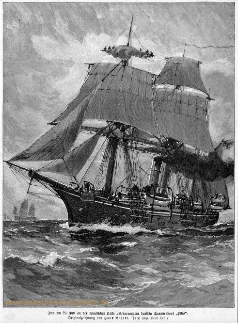 """Das am 23. Juli 1896 an der chinesischen Küste untergegangene deutsche Kanonenboot """"Iltis""""."""