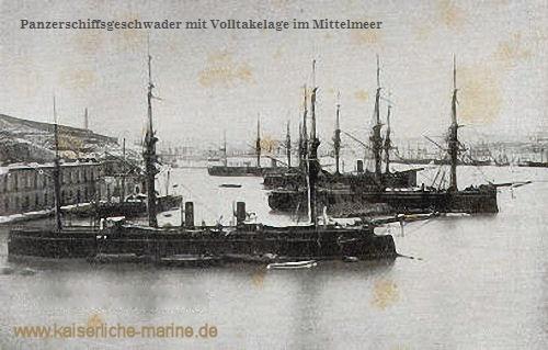 Panzerschiffsgeschwader mit Volltakelage im Mittelmeer S.M.S. Kaiser, S.M.S. Deutschland, S.M.S. Friedrich Carl, S.M.S. Kronprinz