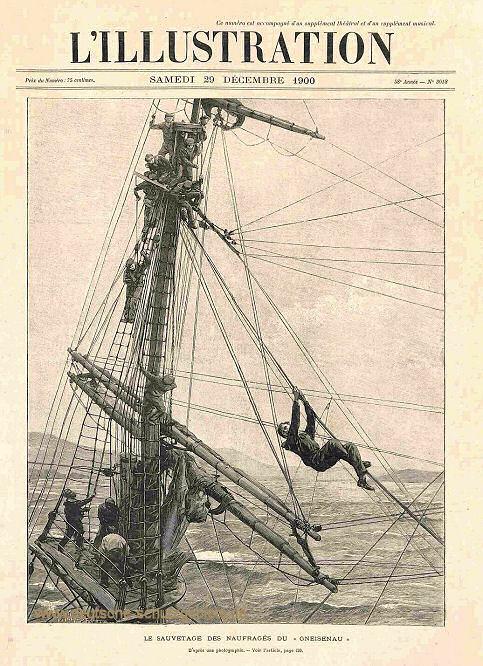 Der Untergang des deutschen Schulschiffes Gneisenau vor Malaga.