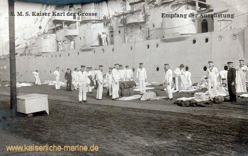 S.M.S. Kaiser Karl der Große, Empfang der Ausrüstung
