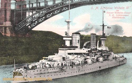 S.M.S. Kaiser Wilhelm II. im Kaiser Wilhelm-Kanal b. d. Levensauer Hochbrücke