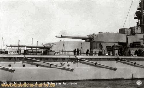S.M.S. König Albert, Schwere Artillerie