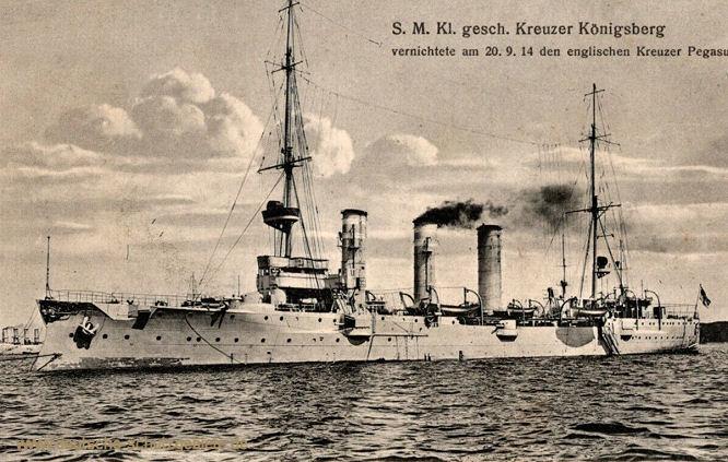 S.M.S. Königsberg vernichtete am 20.9.14 den englischen Kreuzer Pagasus