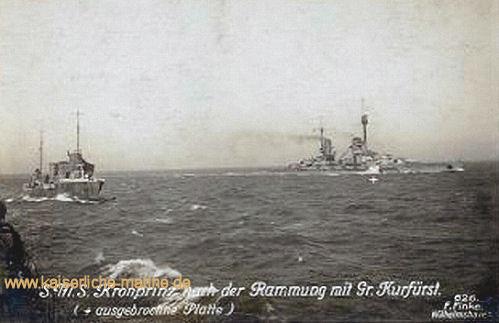 S.M.S. Kronprinz nach der Rammung mit Großer Kurfürst (+ ausgebrochene Platte)