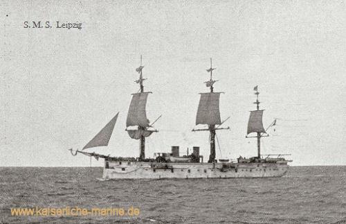 S.M.S. Leipzig, das Flaggschiff während der ostafrikanischen Blockade beim Zusammentreffen mit dem Übungsgeschwader während der Kaiserreiche nach Konstantinopel 1889