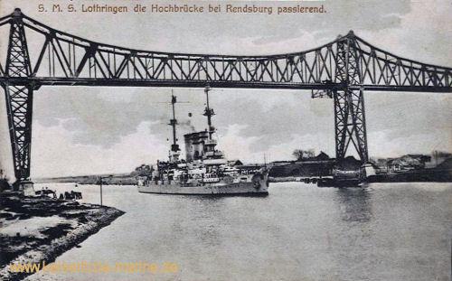 S.M.S. Lothringen die Hochbrücke bei Rendsburg passierend