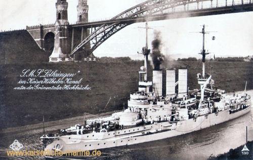 S.M.S. Lothringen im Kaiser-Wilhelm-Kanal unter der Grünentaler Hochbrücke