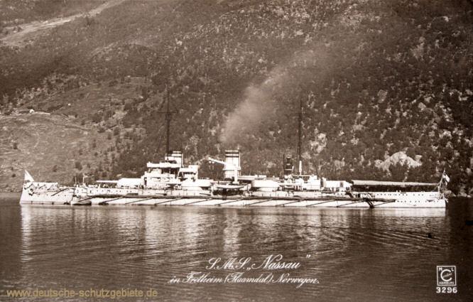 S.M.S. Nassau in Fredheim (Norwegen)
