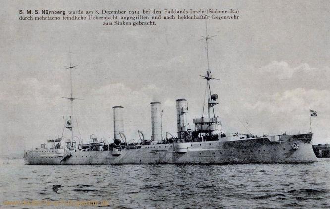 S.M.S. Nürnberg wurde am 8. Dezember 1914 bei den Falkland-Inseln (Südamerika) durch mehrfache Übermacht angegriffen und nach heldenhafter Gegenwehr zum Sinken gebracht.