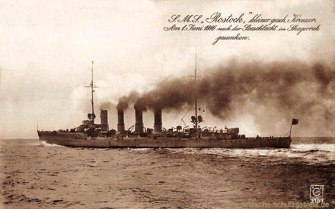 S.M.S. Rostock Kleiner Kreuzer. Am 1. Juni 1916 nach der Schlacht im Skagerrak gesunken.