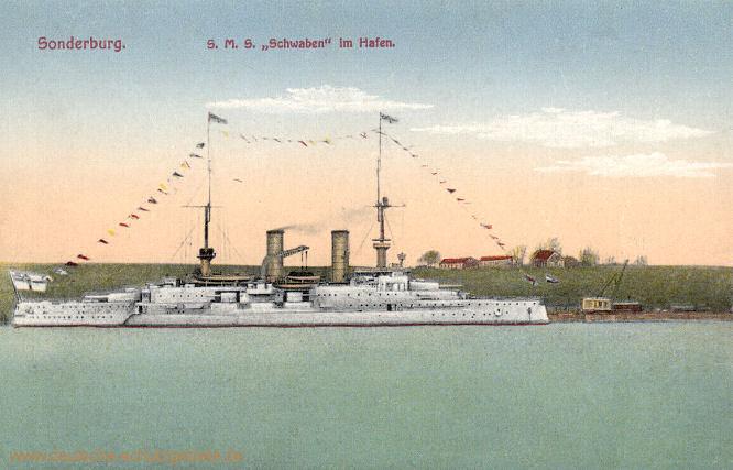 Sonderburg, S.M.S. Schwaben im Hafen