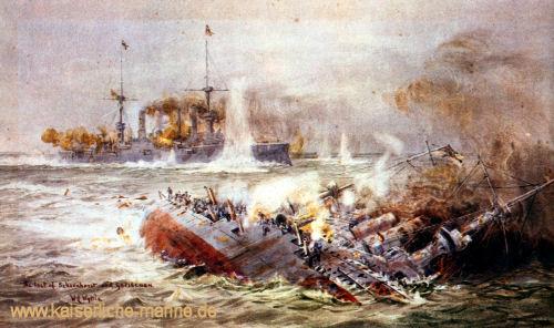 """""""The last of Scharnhorst and Gneisenau"""" Postkarte nach einem Gemälde von Lionel Wyllie"""