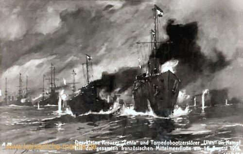 Der Kleine Kreuzer Zenta und Torpedobootszerstörer Ulan im Kampf mit der gesamten französischen Mittelmeerflotte am 16. August 1914.