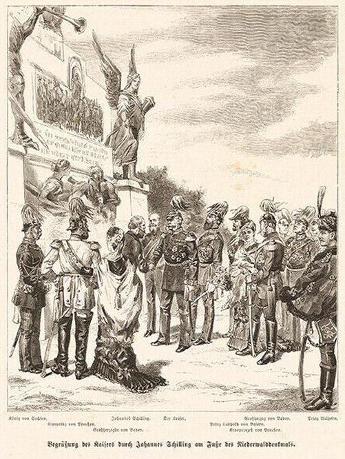 Begrüßung des Kaisers durch Johannes Schilling am Fuße des Niederwalddenkmals.