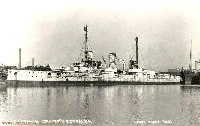 Ex German Cruiser Westfalen, West Float 1921