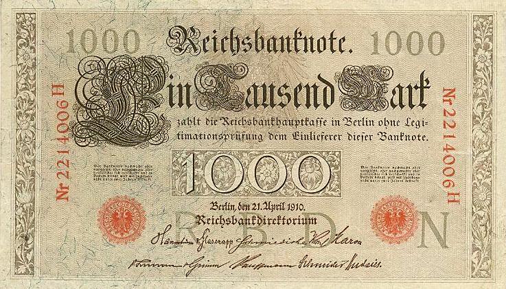 Reichsbanknote 1000 Mark 21.04.1910 Vorderseite