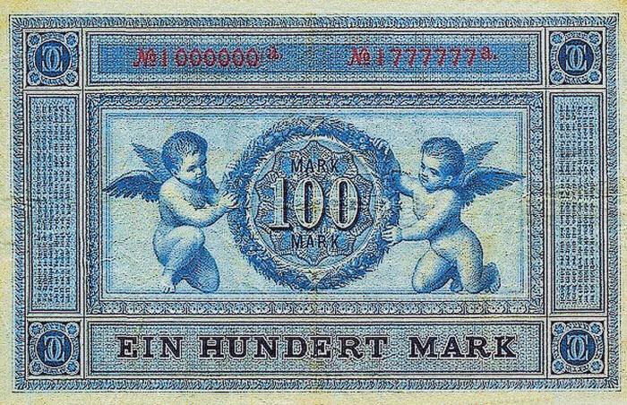 Reichsbanknote 100 Mark 01.01.1876 Rückseite